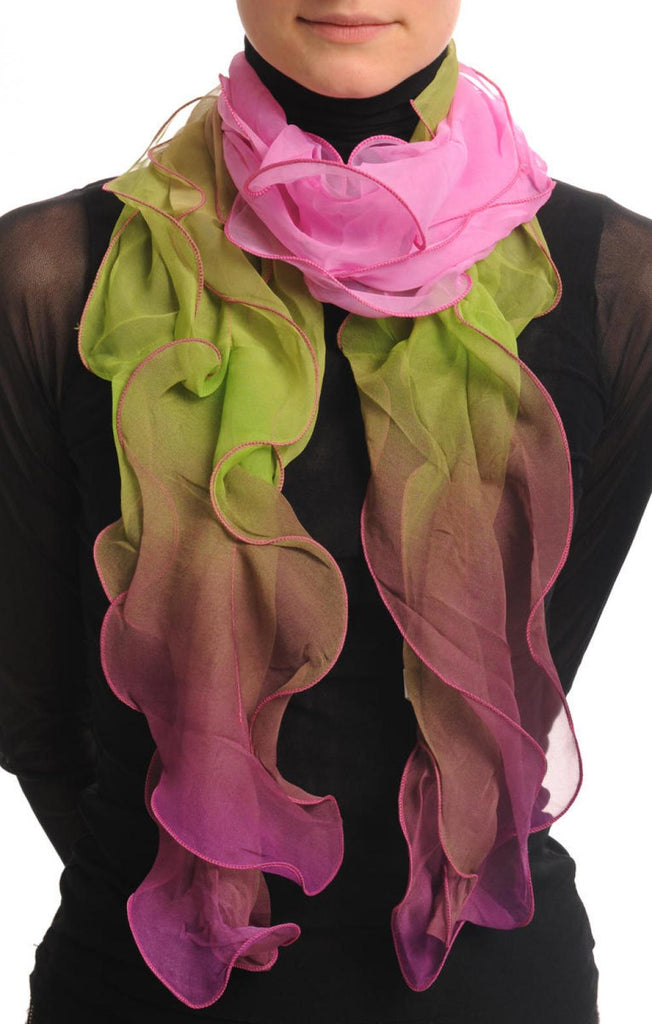 Damask Pink & Asparagus Double Layered Chiffon Ombre