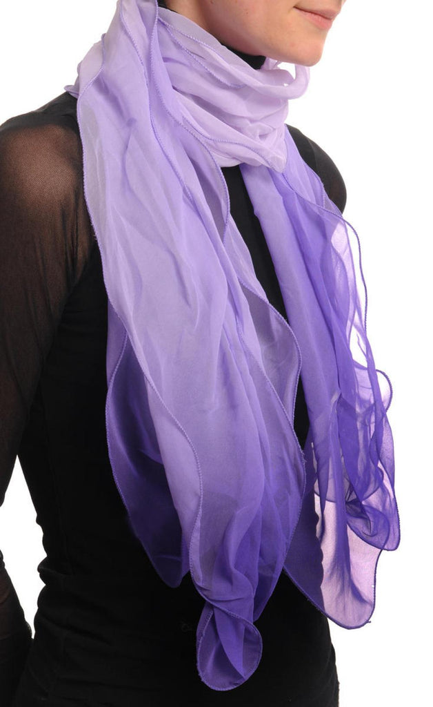 Lilac & Purple Double Layered Chiffon Ombre