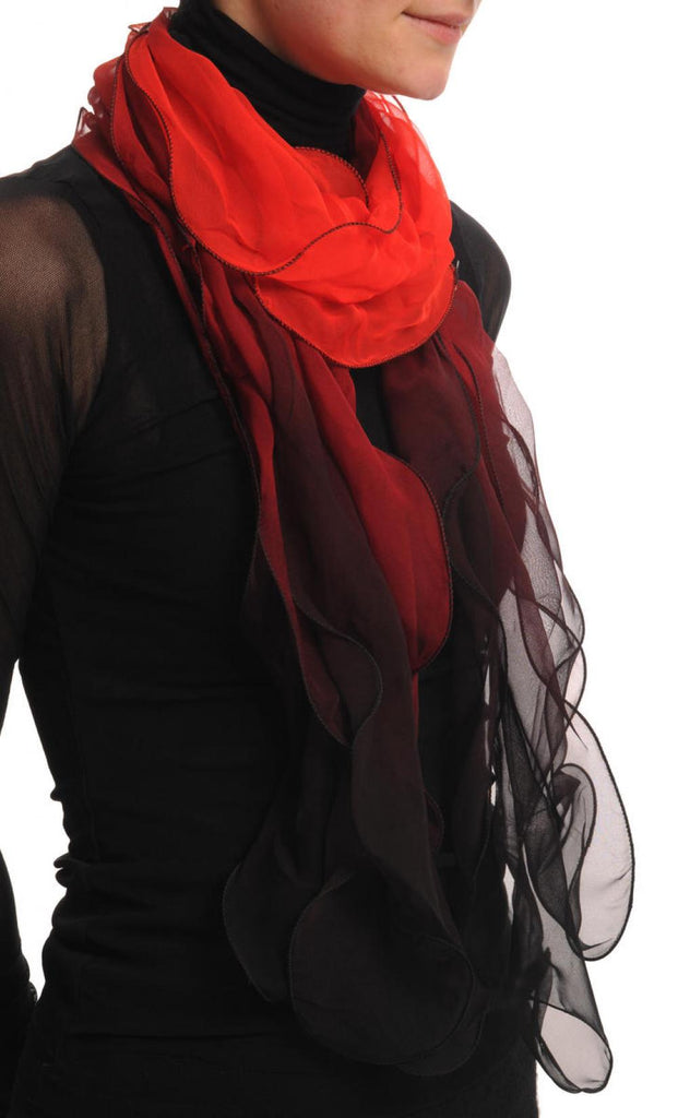 Red & Black Double Layered Chiffon Ombre