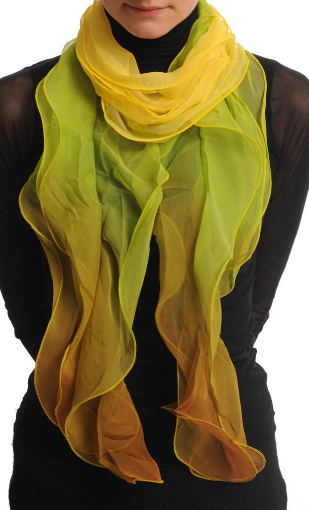 Yellow Green & Brown Double Layered Chiffon Ombre