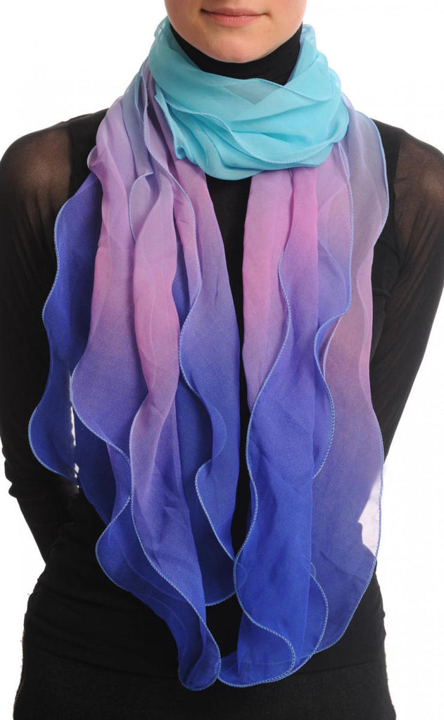 Electric Blue Purple & Blue Double Layered Chiffon Ombre