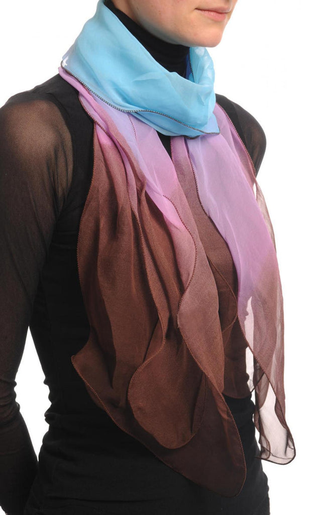 Blue Pink & Brown Double Layered Chiffon Ombre