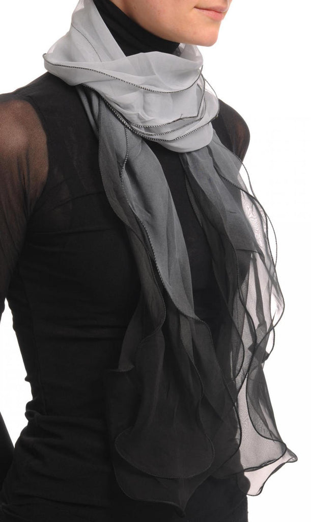 Grey & Black Double Layered Chiffon Ombre