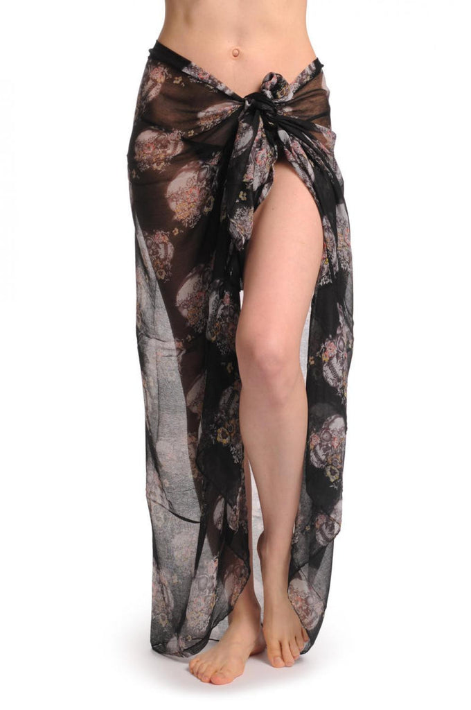 Skulls With Flowers On Black Unisex Scarf & Beach Sarong