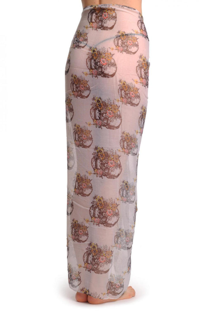 SF000954 Skulls With Flowers On White Unisex Scarf and Beach Sarong
