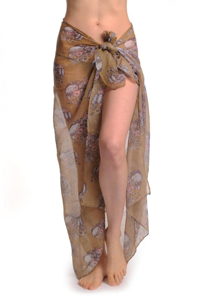 Skulls With Flowers On Mocha Unisex Scarf & Beach Sarong