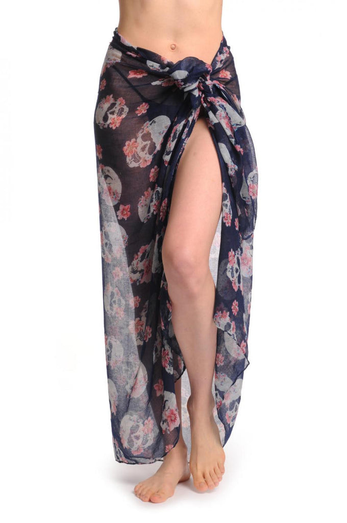 Skull With Flowers On Navy Blue Unisex Scarf & Beach Sarong