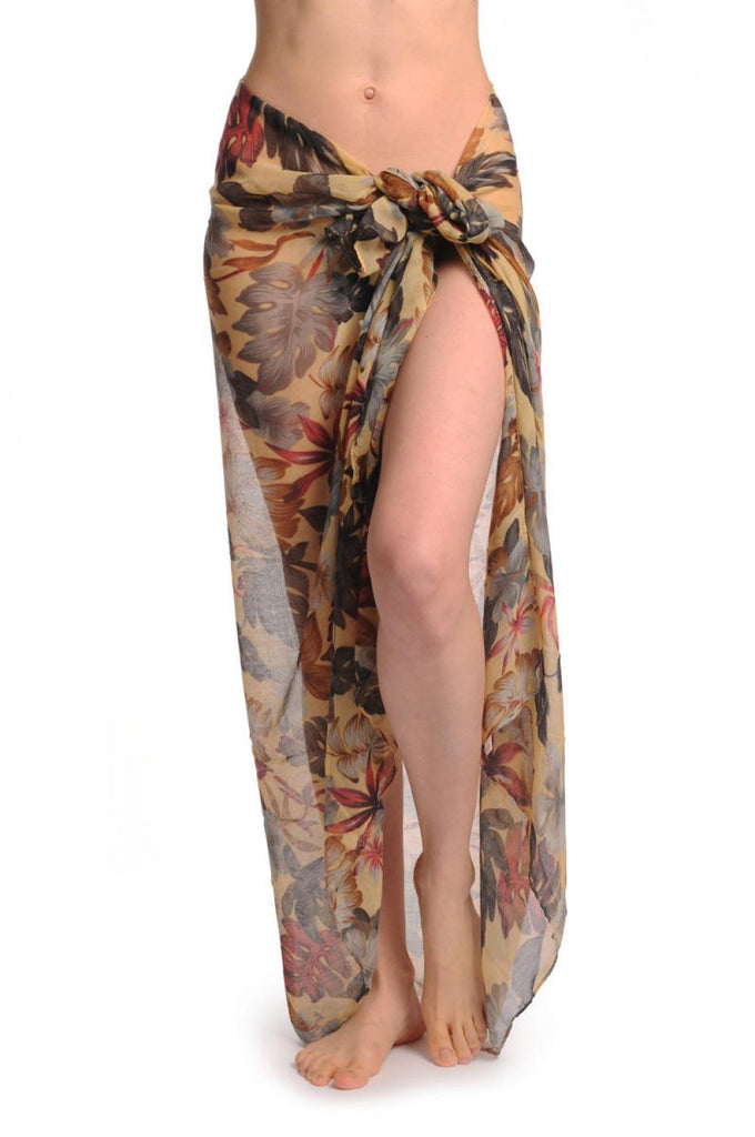 Grey & Brown Palm Leaves On Mocha Unisex Scarf & Beach Sarong
