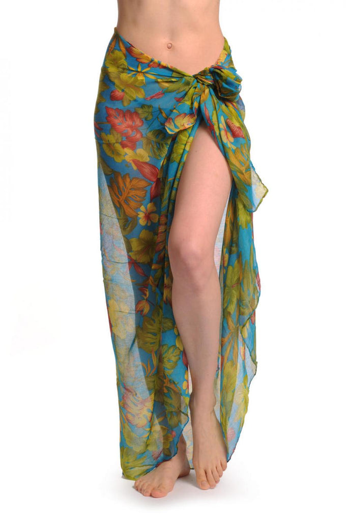 Blue & Olive Green Palm Leaves On Azure Blue Unisex Scarf & Beach Sarong
