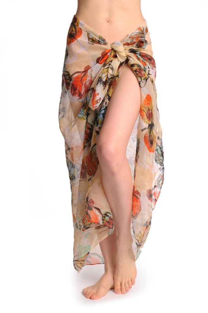 Large Colourful Butterflies On Light Beige Unisex Scarf & Beach Sarong