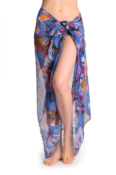 Large Colourful Butterflies On Blue Unisex Scarf & Beach Sarong