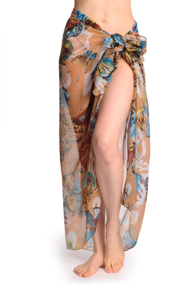 Large Colourful Butterflies On Mocha Unisex Scarf & Beach Sarong