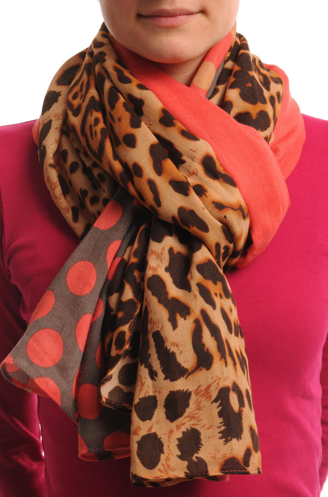 Pink Grey & Leopard With Pink Polka Dots Unisex Scarf & Beach Sarong