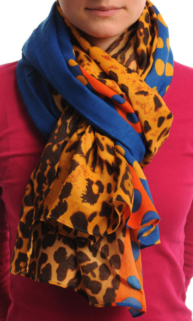 Blue Orange & Leopard With Blue Polka Dots Unisex Scarf & Beach Sarong
