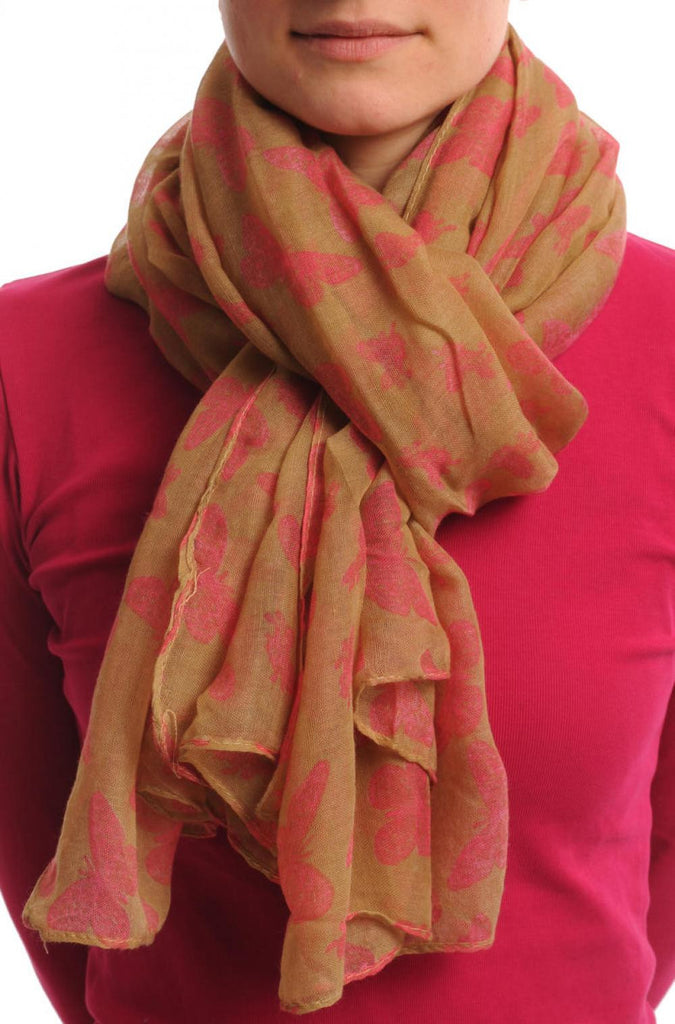 Small Soft Pink Butterflies On Beige Unisex Scarf & Beach Sarong