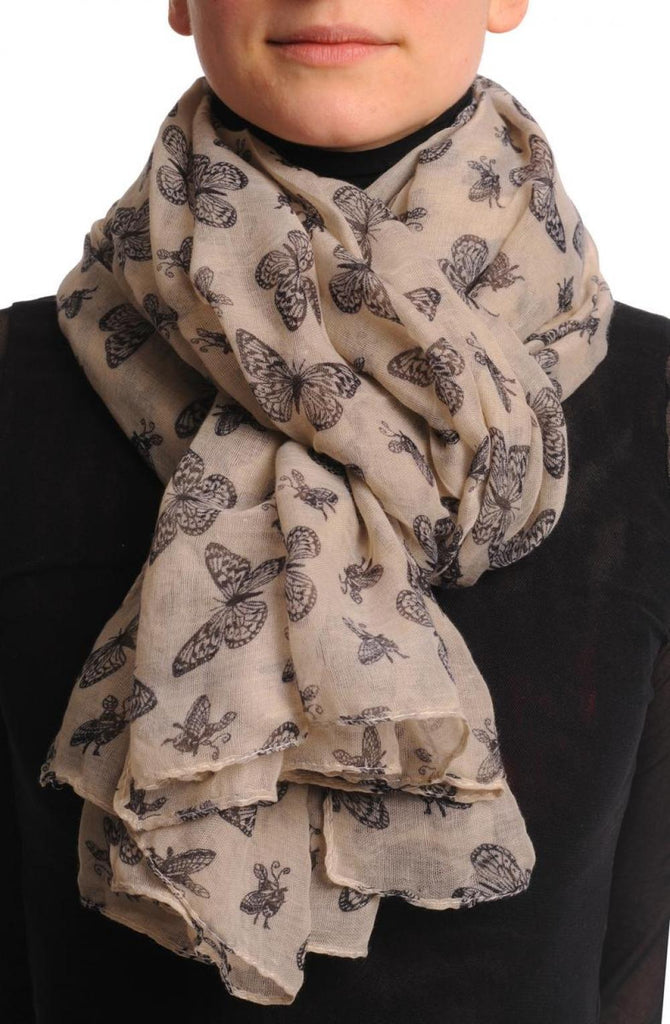 Small Black Butterflies On Beige Unisex Scarf & Beach Sarong