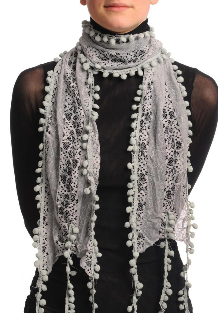 Grey Vintage Lace With Soft Pearls