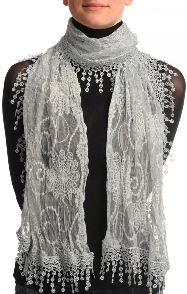 Light Grey Vintage Lace With Flowers
