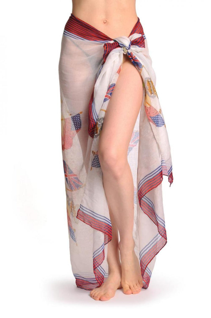Shield With Skull & Flags on White Unisex Scarf & Beach Sarong