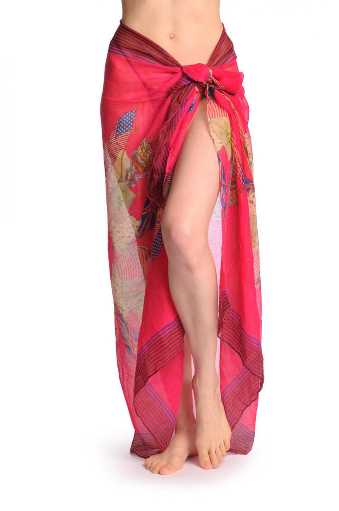Shield With Skull & Flags on Raspberry Pink Unisex Scarf & Beach Sarong