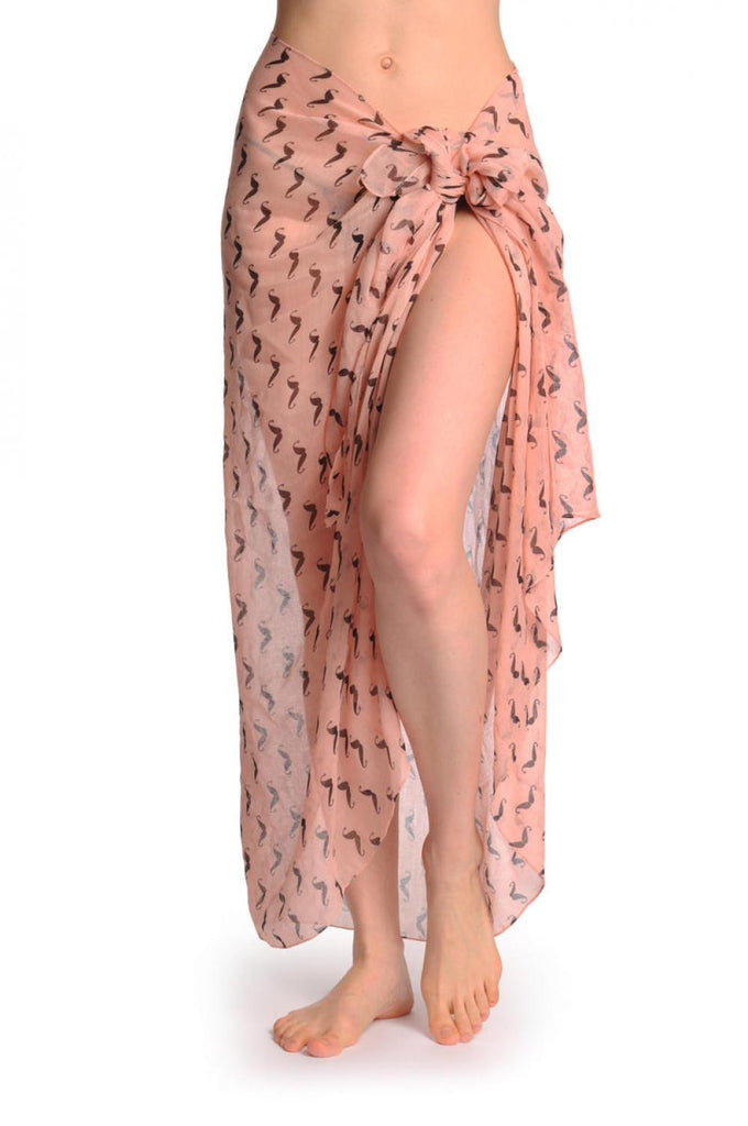 Black Moustaches On Peach Pink Unisex Scarf & Beach Sarong
