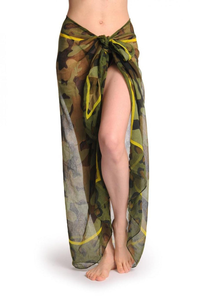 Camouflage With Bright Yellow Stripe Unisex Scarf & Beach Sarong