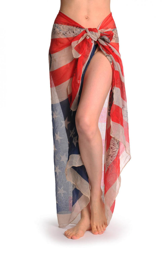Vintage American Flag With Skulls Unisex Scarf & Beach Sarong