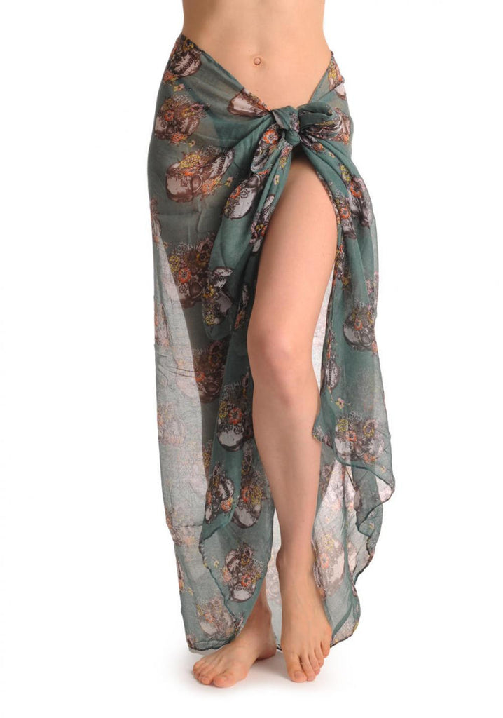 Skulls With Flowers On Cerulean Blue Unisex Scarf & Beach Sarong