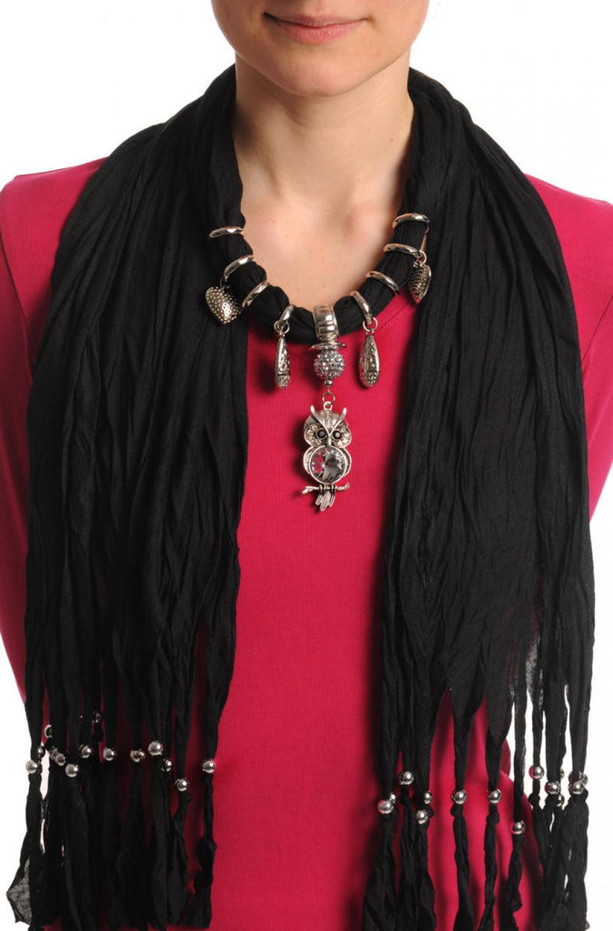 Black Jewellery Scarf With Owl Pendant & Beads