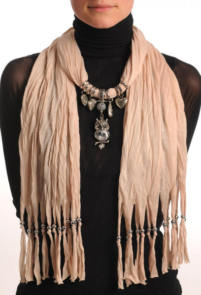 Beige Jewellery Scarf With Owl Pendant & Beads