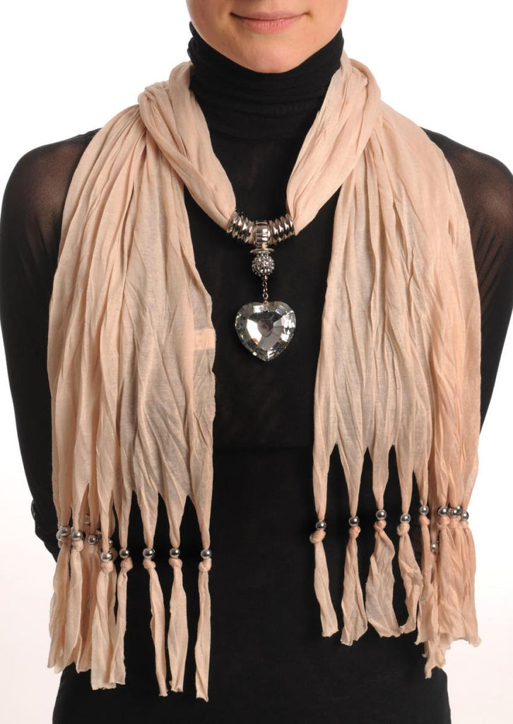 Beige Jewellery Scarf With Crystal Heart & Beads