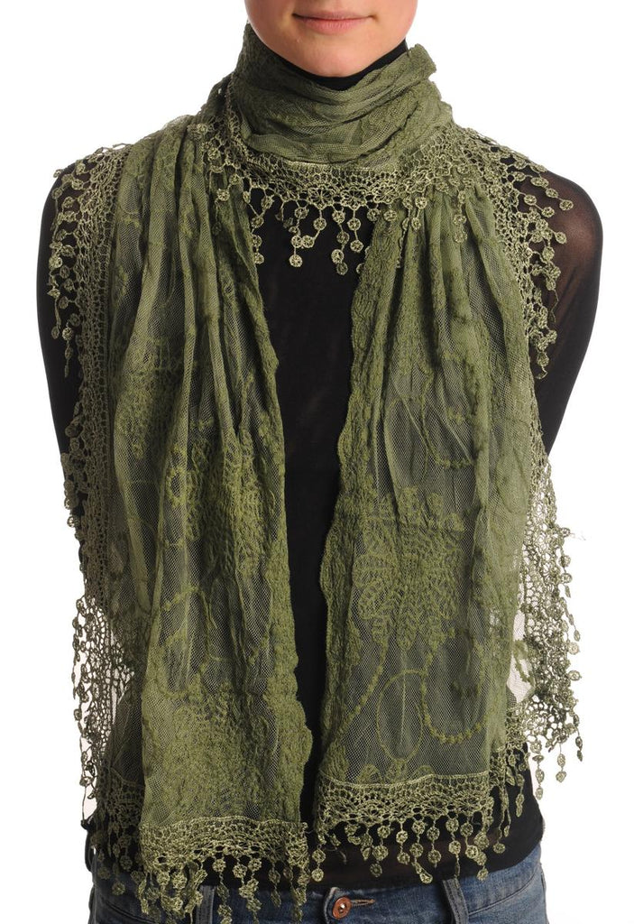 Olive Green Vintage Lace With Flowers