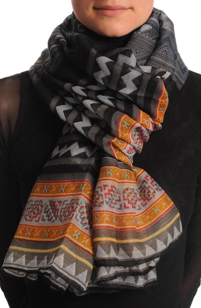 Grey Black & Orange Aztec Unisex Scarf & Beach Sarong