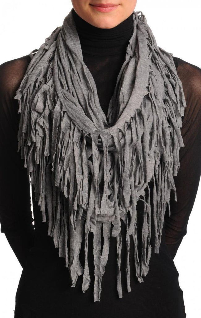 Light Grey With Tassels Snood Scarf