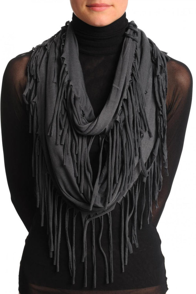 Slate Grey With Tassels Snood Scarf