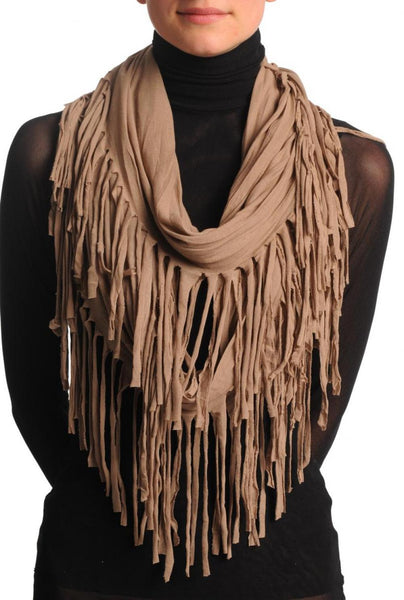 Mocha With Tassels Snood Scarf