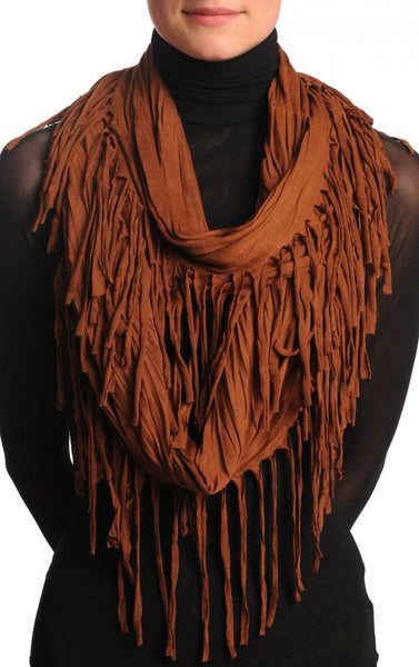Brown With Tassels Snood Scarf