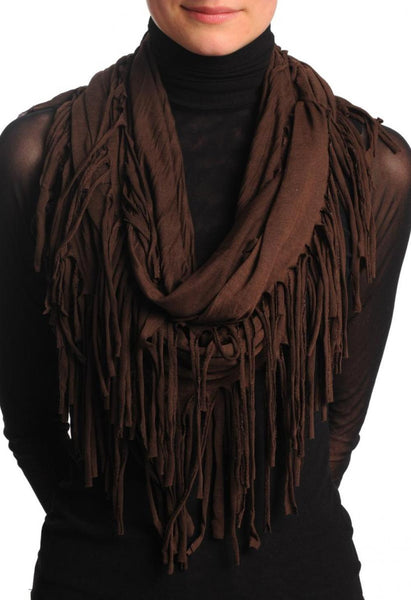 Dark Chocolate With Tassels Snood Scarf