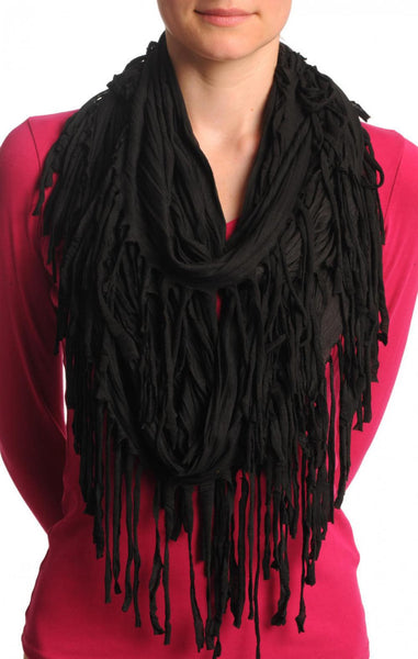 Black With Tassels Snood Scarf