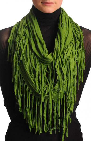 Green With Tassels Snood Scarf