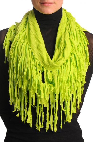 Lime Green With Tassels Snood Scarf