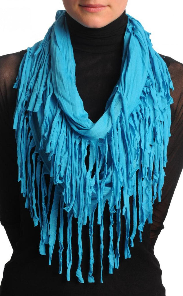 Azure Blue With Tassels Snood Scarf