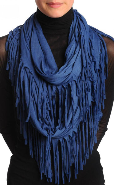 Midnight Blue With Tassels Snood Scarf