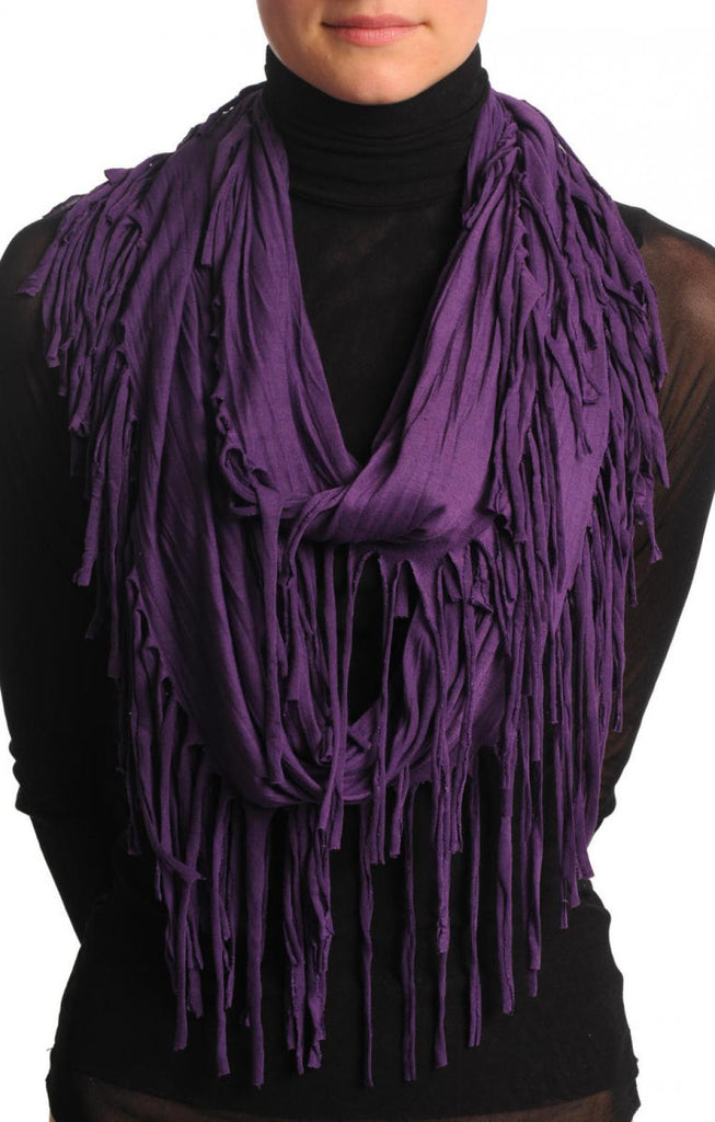 Purple With Tassels Snood Scarf