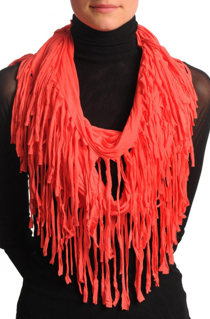 Carmine Pink With Tassels Snood Scarf