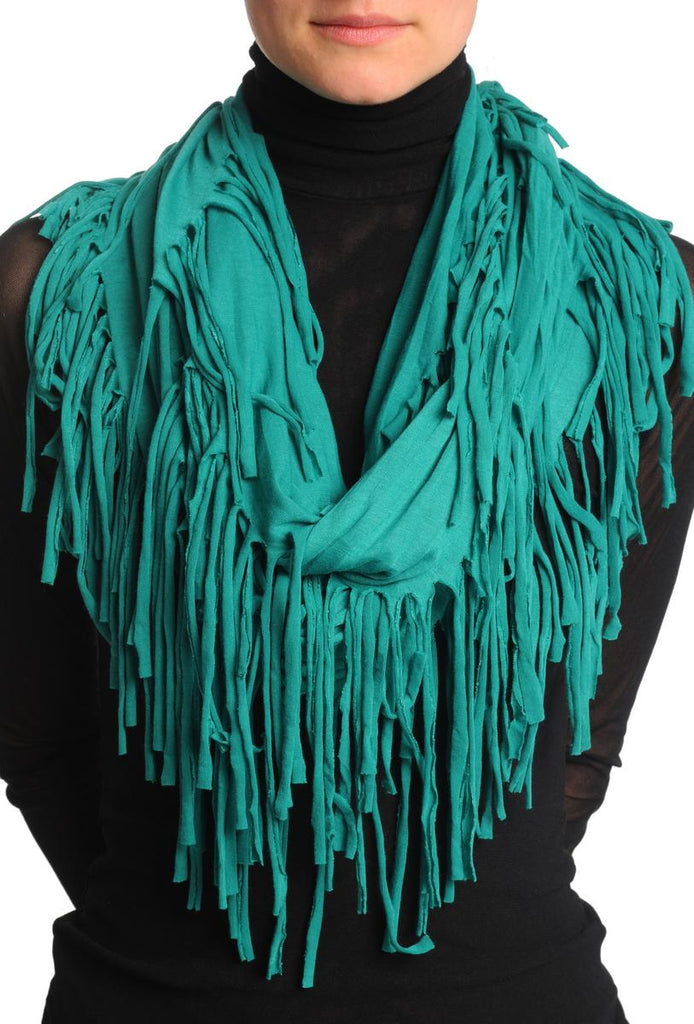 Pine Green With Tassels Snood Scarf