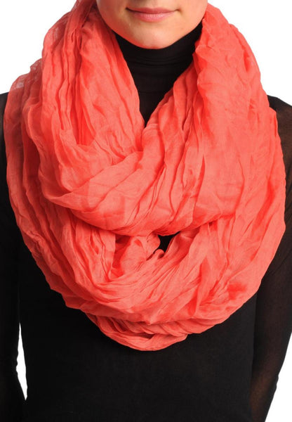 Carmine Pink Creased Snood Scarf