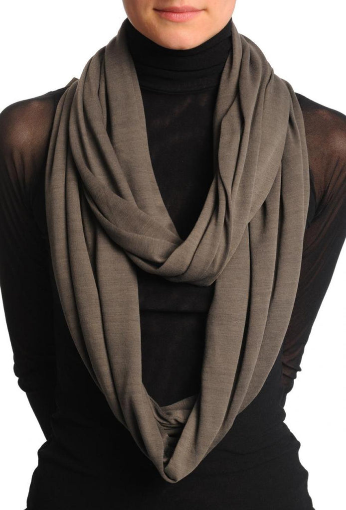 Taupe Brown Soft Cotton Snood Scarf