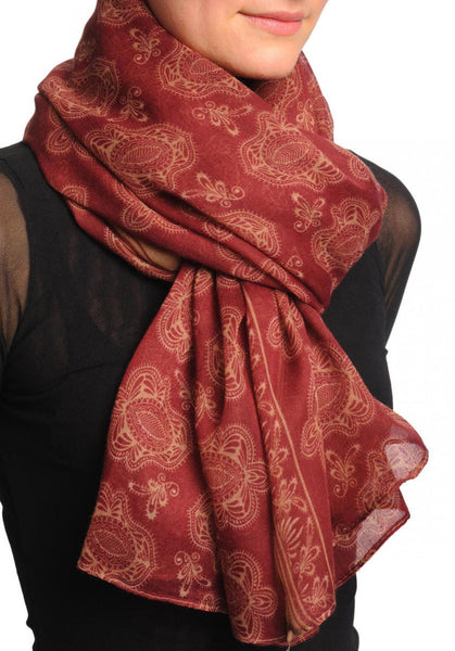 Beige Turkish Flowers on Burgundy Unisex Scarf & Beach Sarong