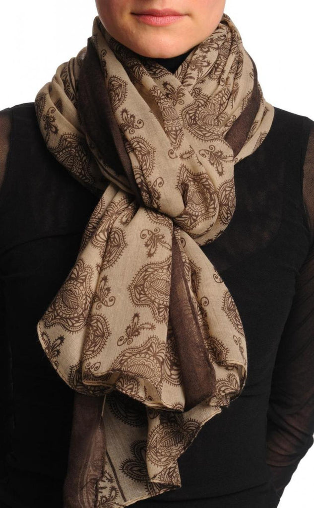 Brown Turkish Flowers on Mocha Unisex Scarf & Beach Sarong